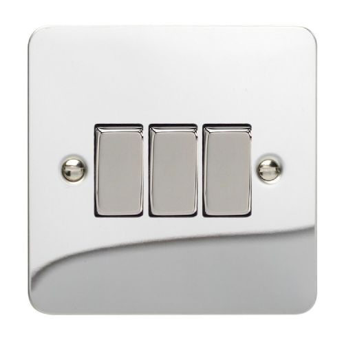 Varilight XFC3D Ultraflat Polished Chrome 3 Gang 10A 1 or 2 Way Rocker Light Switch